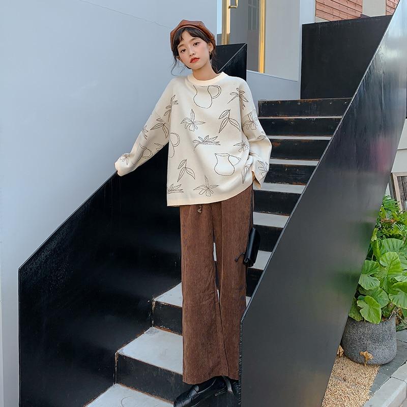 2019 Autumn New fashion sweater women kpop feminine Loose Round neck long sleeves Pullovers Cartoon ladies jumpers MILLINSUS