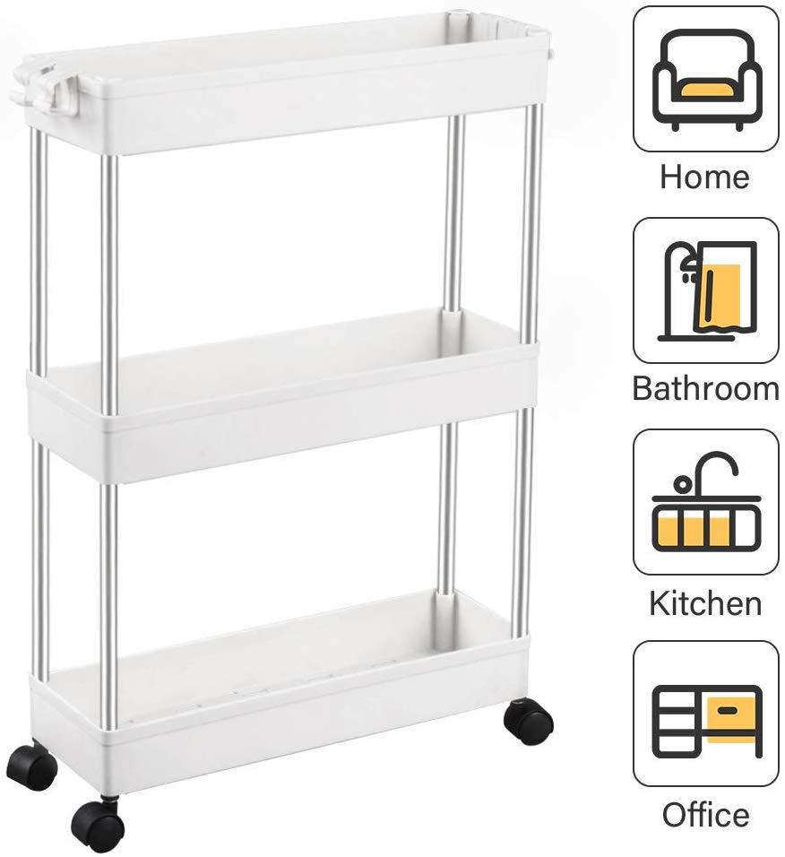 3-Tier Slim Storage Cart Mobile Shelving Unit Organizer Slide Out Storage Rolling Utility Cart With 4 Hooks For Kitchen Bathroom