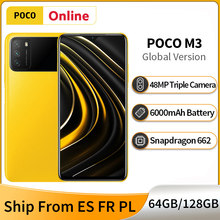 Глобальная версия POCO M3 4GB 128GB / 64GB смартфон 48MP AI тройной Камера 6000 мА/ч, Батарея Snapdragon 662 6,53