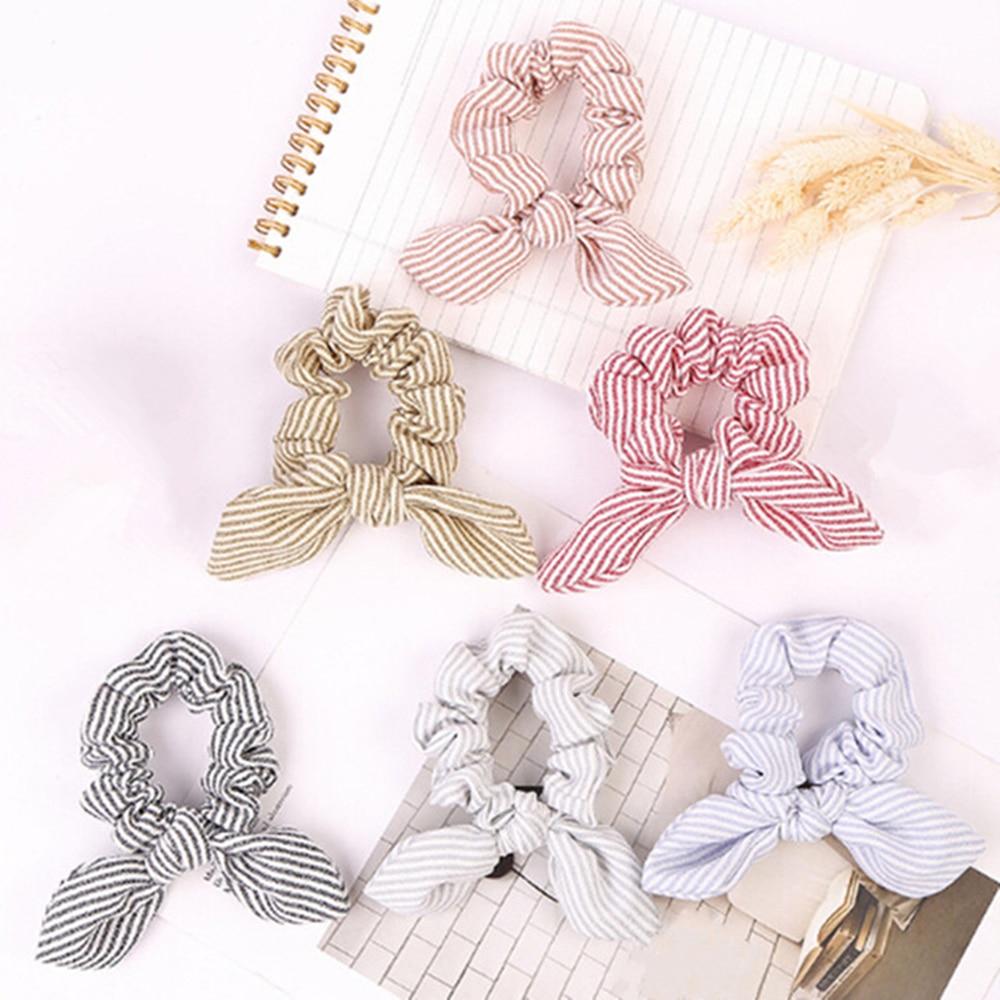 1PC Women Stripe Hairbands Scrunchie Hair Rope Tie Hair Ribbons Ponytail Maker Braider Girls Headbands Hair Accessories