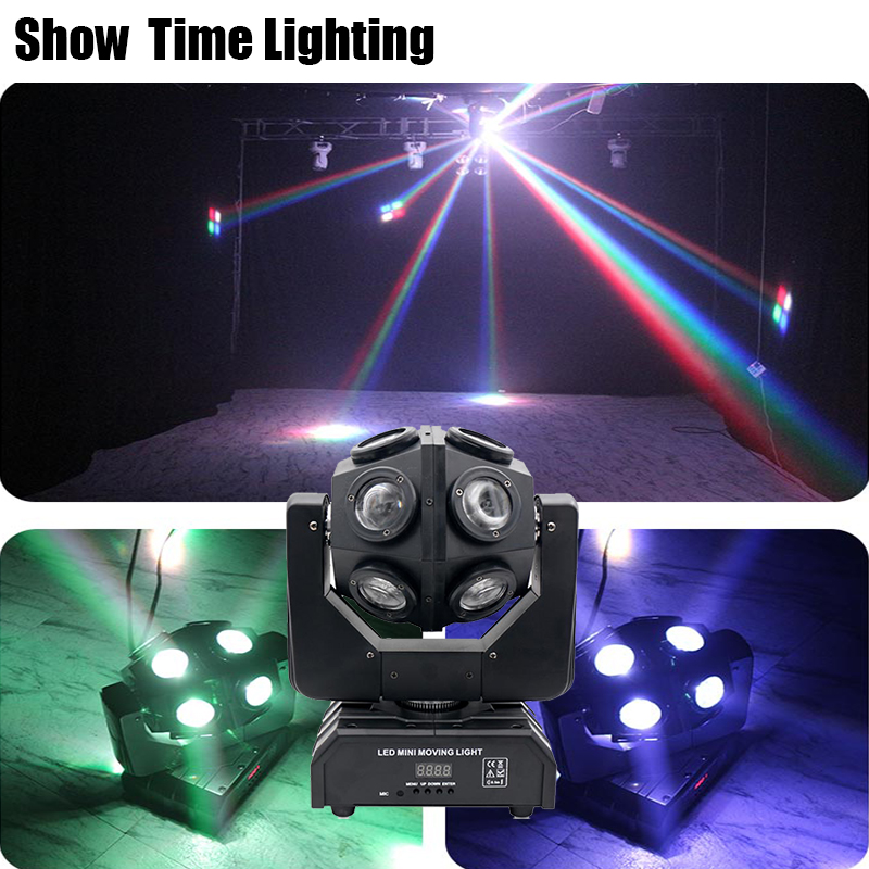 Powerful 12Pcs 10W RGBW 4 IN 1 Unlimited Rotate Dj Led Moving Head Light Good Effect Use For Disco Party KTV Night Club Bar