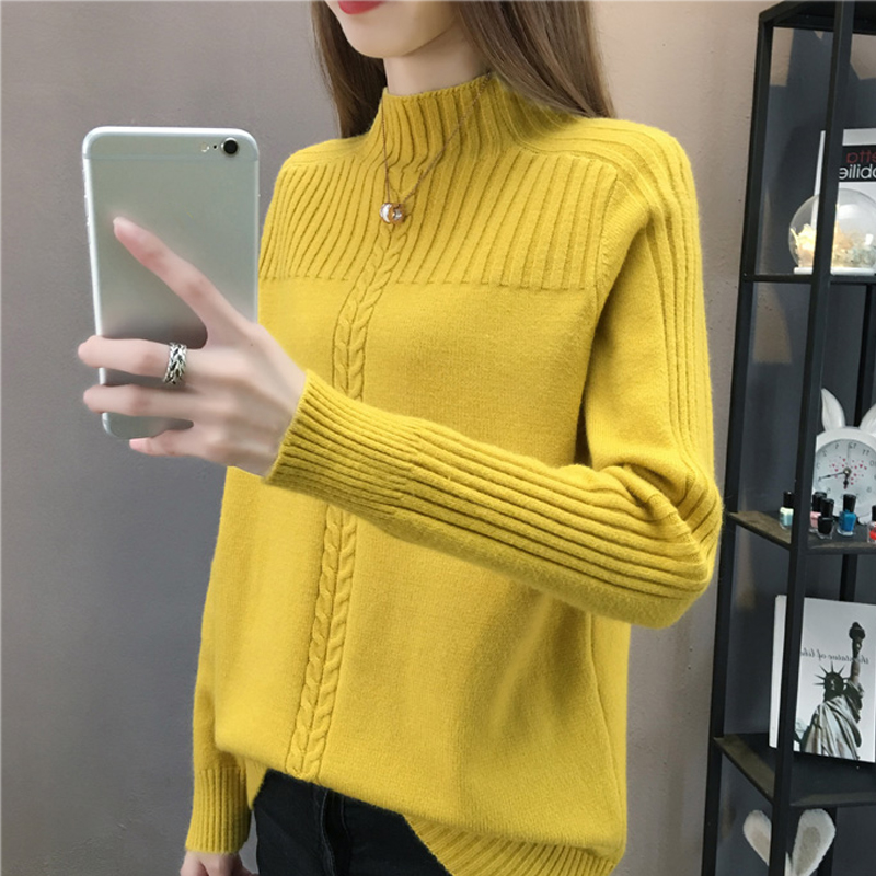 Knitted Turtleneck Women Autumn Winter 2019 New Ladies Korean Sweater Female Long Sleeve Jumper Blue White Red Pullover Femme