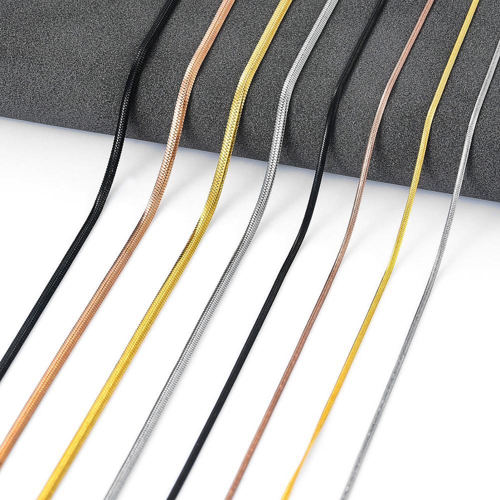 Плоская цепь шириной 1 мм/2 мм, Золотая/стальная/черная/Розовая нержавеющая сталь, рандомная для женщин и мужчин, ювелирные изделия из нержав...