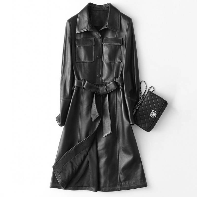 Top Brand Women Italy Designer Genuine Leather Sheepskin Long Coats Fashion Sashes Belt Quality Real Leather Trench Windbreaker