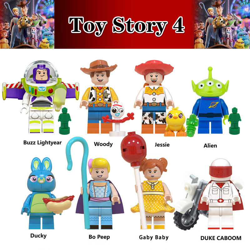 Legoinglys Toy Story 4 8pcs Building Block Woody Buzz Lightyear Jessie Forky Brick Figure Collectible Doll Toys For Children