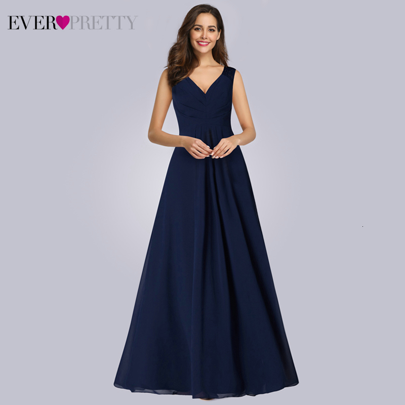 Navy Blue Lace Evening Dresses Ever Pretty EP07420NB A-Line V-Neck Sleeveless Elegant Chiffon Evening Gowns Abendkleider 2019
