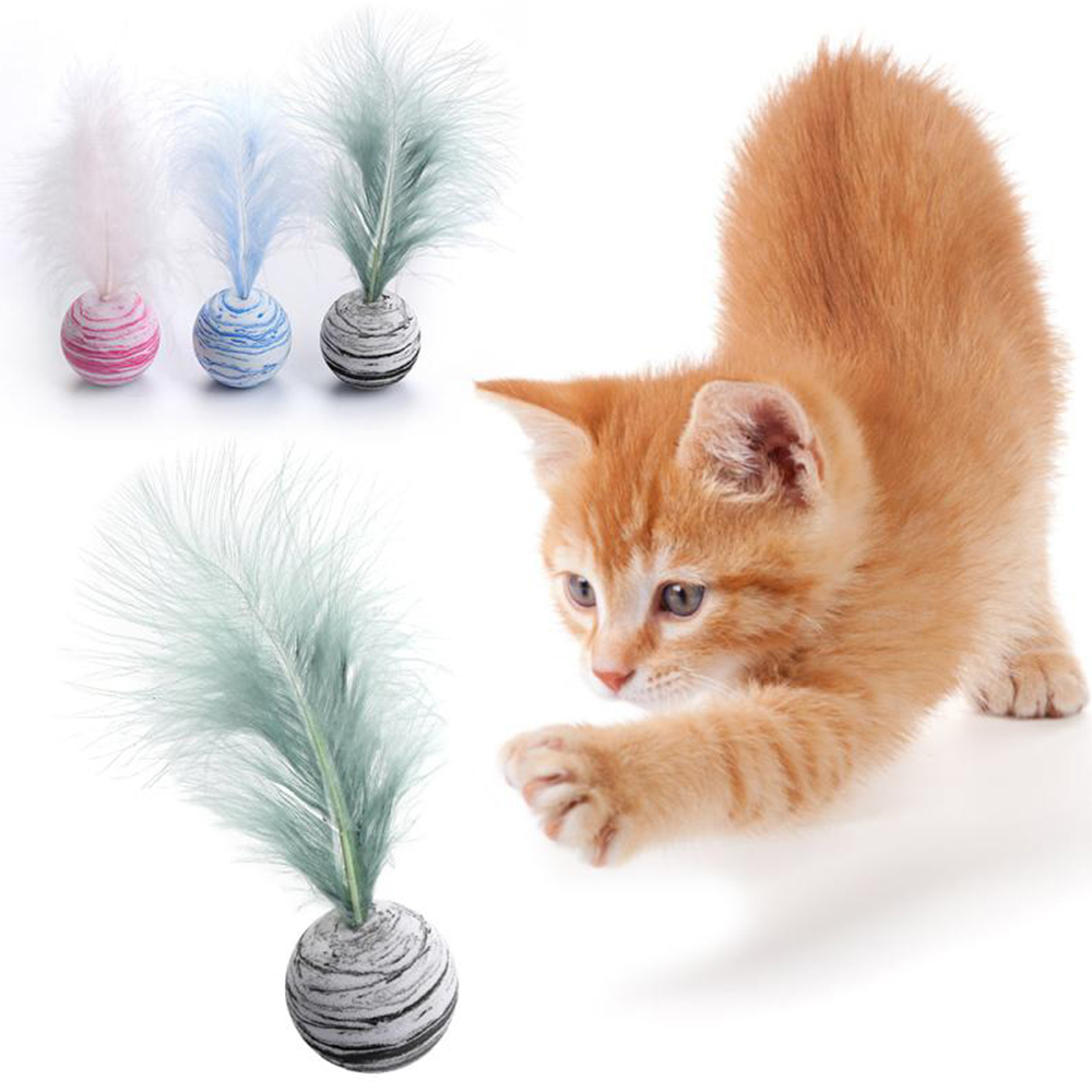 Feather Throwing Star Ball Toy Pet  EVA Planet Texture Pet Balls Cat Toys Cat Pet Product Chewing Kitten Teeth Grinding Supplies