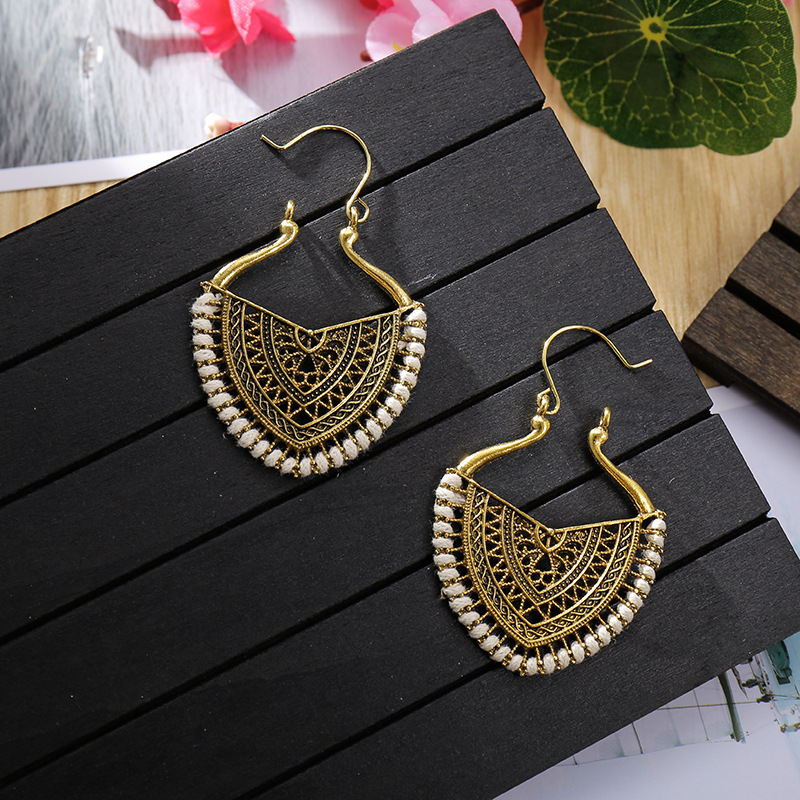 Ethnic Vintage Gold Heart India Earrings Women Boho Gypsy Corful Line Carved Earrings Statement Earrings