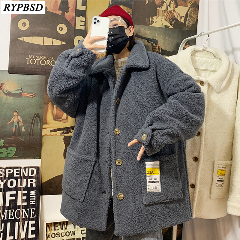 Winter Coat Men Warm Thicken Lamb Wool Coat Loose Fashion Solid Casual Single Breasted Plus Cotton Lamb Wool Jacket Outwear