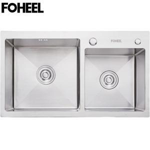 Image 1 - FOHEEL Kitchen Sink Double bowl Kitchen Sink Drain Basket And Drain Pip Rectangular  Stainless Steel