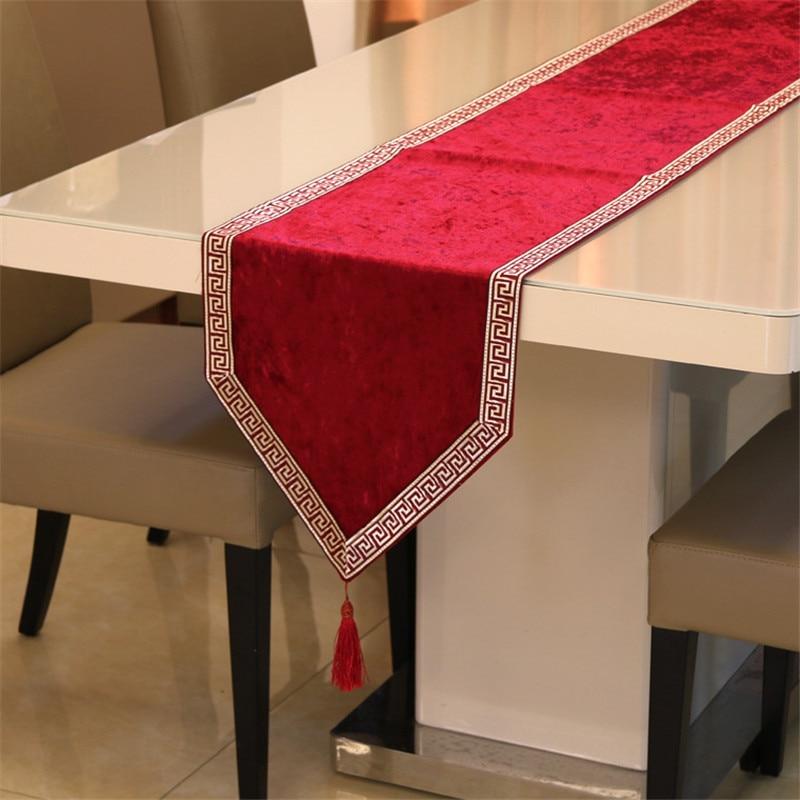 Image 3 - 新中国のハイエンドテーブルクロス旗靴キャビネットカバー布ヨーロッパベルベットのベッドランナーシンプルなカラーテーブルクロス    グループ上の ホーム