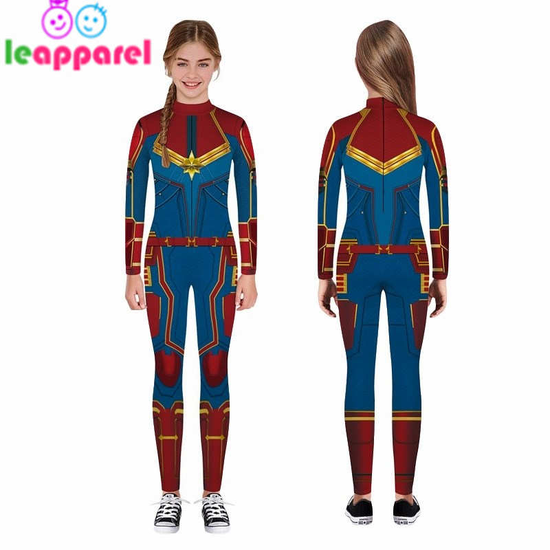 LEAPPAREL New Kids Bodysuit Long Sleeve Full-Length Pants Zipper 3D Printing Halloween Captain Superhero Cosplay Costume