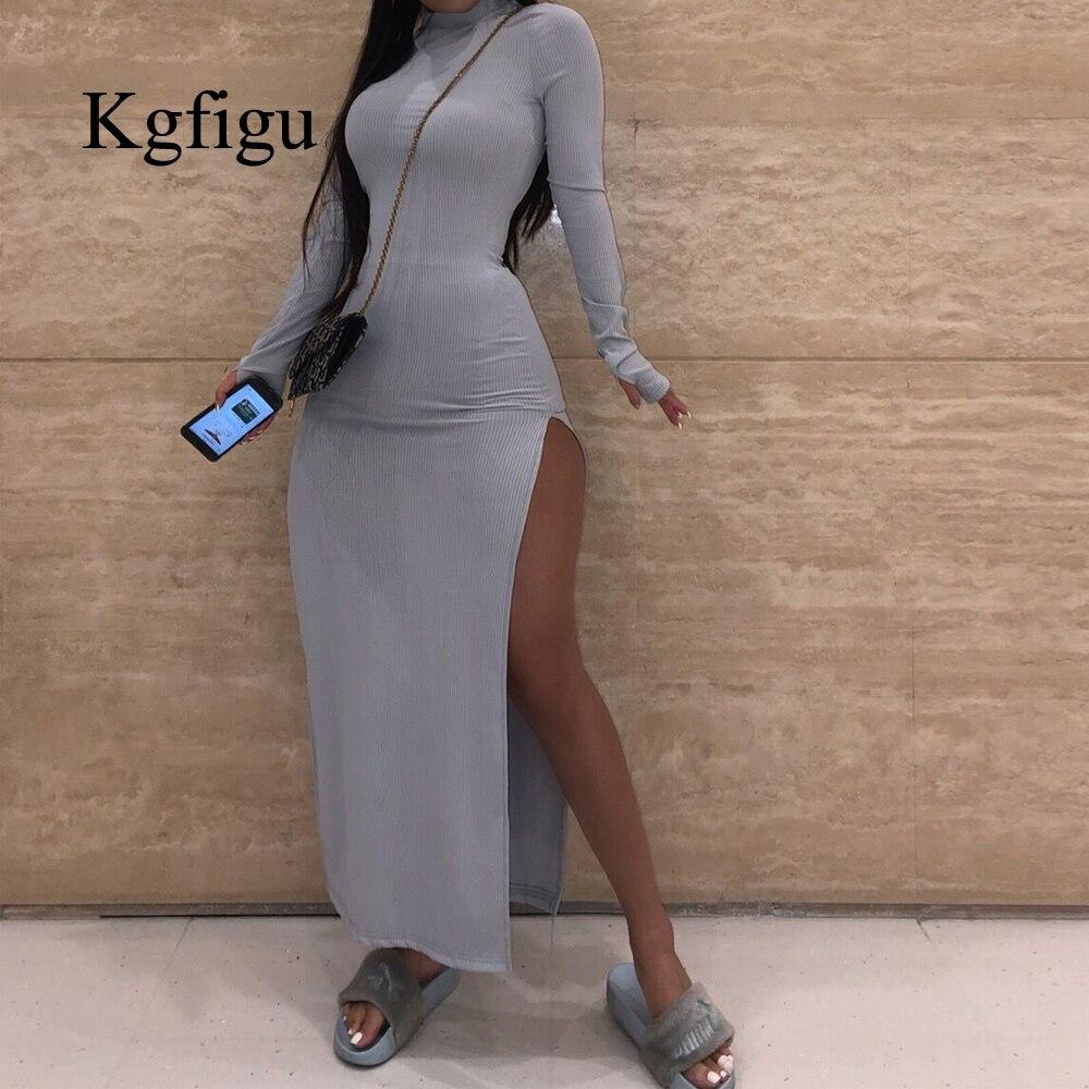 KGFIGU Thumb отверстие милое платье женские вечерние с длинным рукавом Сторона Раздельная одежда сексуальные ребристые трикотажные костюмы хак...