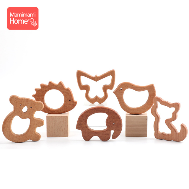 1pc Wooden Teether Wood Pendant For Pacifier Chain Baby Products Animal Wooden Blank Rodent Baby Teethers Birth Nurse Gifts Toys 4