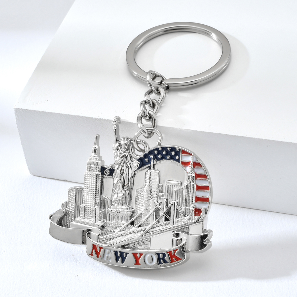 Vicney New York Letter KeyChain Souvenirs Empire State Building Statue Of Liberty Key Chain Brooklyn Bridge Key Ring For Women