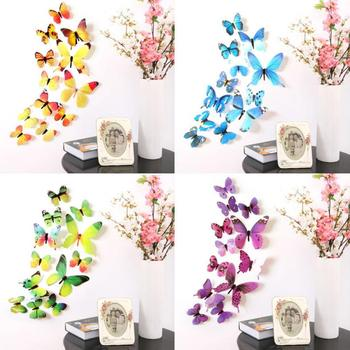 12pcs Wall Sticker Decals Butterflies Stickers New Year Home Decorations 3D Butterfly Wallpaper for Living Room Wall Art Decor image