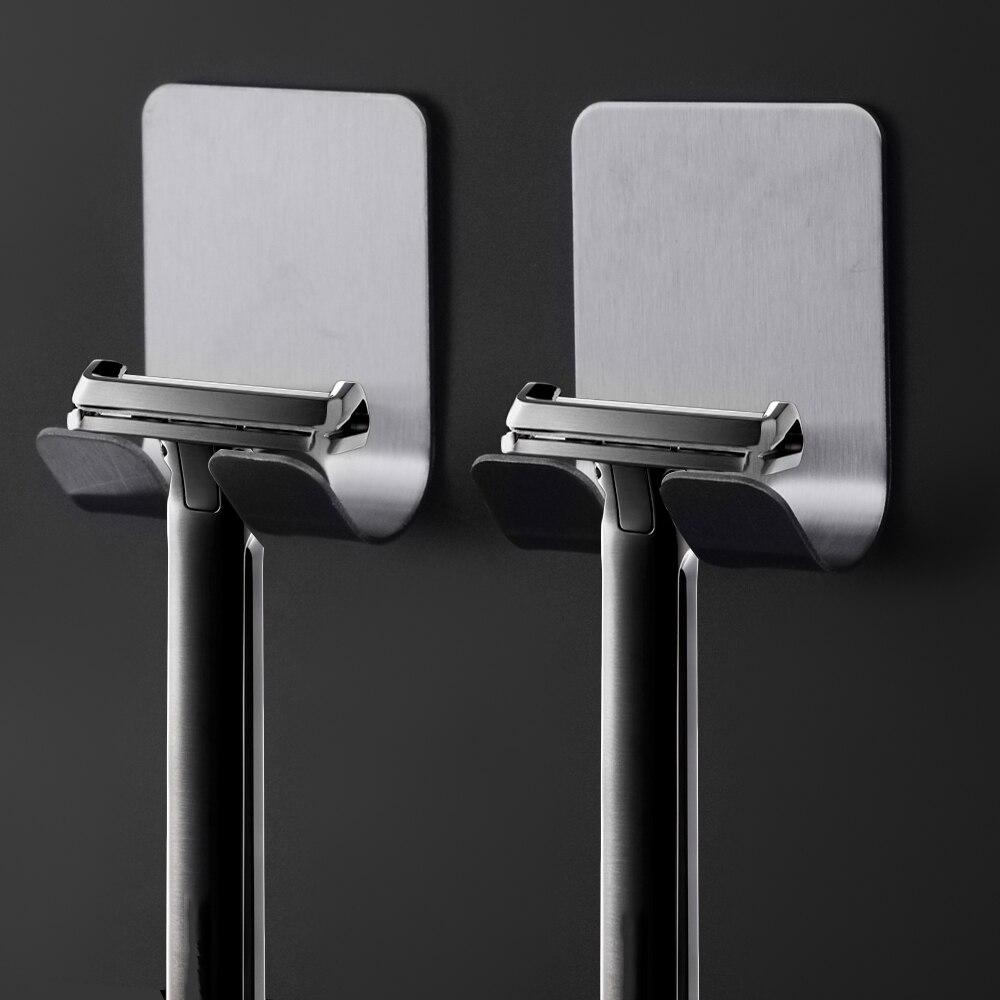 1 Pcs Razor Stainless Steel Holder For Men's Razor Holder Bathroom Razor Holder Wall Adhesive Storage Hook Kitchen Hanger