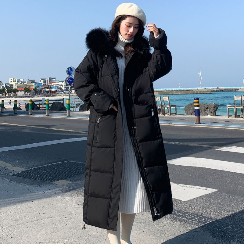 2019 High Quality Korean Style Winter Jacket Women Hooded with Fur X-long   Down     Coat   Thicken Warm Padded Parka