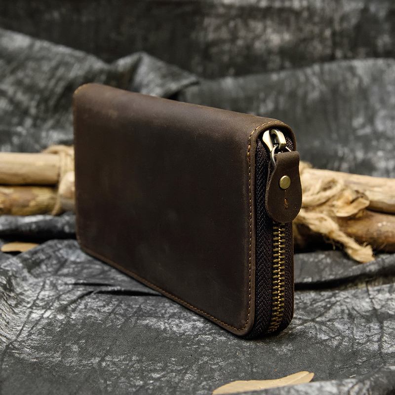 MAHEU Men's Zip Long Wallet Natural Cow Skin Purse Leather Credit Bank Card Cash Cell Phone Wallets Men Women Male High Quality