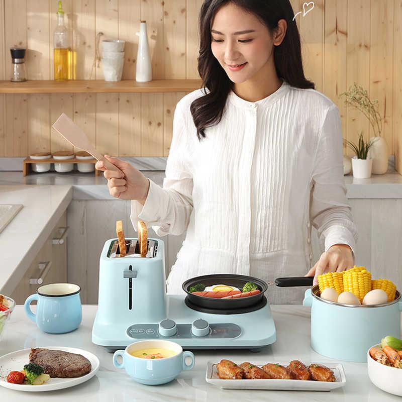 220V Điện 3 Trong 1 Bữa Ăn Sáng Máy Làm Hộ Gia Đình Hấp Trứng Cháo Bánh Mì Nướng 3 Trong 1 Bữa Ăn Sáng Máy 2 Lát bánh Mì Nướng 1320W