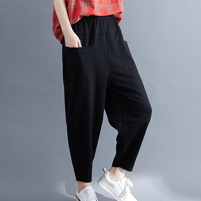 Harem Pants 2020 New High Waist Autumn Pants Cotton Elastic waist Women Casual Pants Slim Female Carrot pants Capris Pants