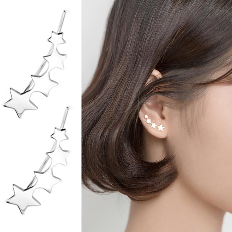 100% Real 925 Sterling Silver Star Ear Climber Earrings For Women Cute Ear Crawler Earrings Free Shipping