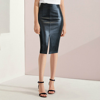 office pencil skirt with decorative v neck Faux Leather Skirt Women Plus Size Midi PU Pencil Skirts Women's Skirts With High Waist Office PU Faux Leather Skirt Women 4XL