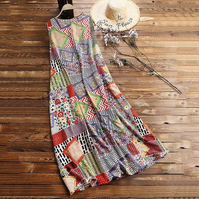 floral quilt patterned maxi dress Vintage O-Neck  4