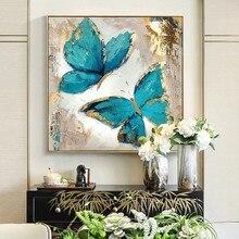 Abstrato azul borboleta sobre tela arte deco emoldurado pintura decoração sala de estar