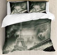 Eiffel Tower Duvet Cover Set Storm Above Eiffel Tower Dramatic Night Sky View with of Thunder Dark Clouds Decorative 3 Piece Bed|Duvet Cover| |  -