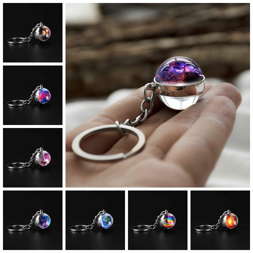 Double Side Glass Ball Keychain Handmade Universe Galaxy Nebula Keychain Planet Pendant Key Chain Key Holder Outer Space Jewelry image