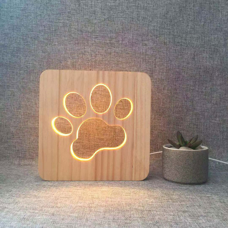 Wooden Dog Paw LED Night Light USB Power Wooden Couples Love Pet Shaped Lights Kids Bedroom Decor For Christmas Creative Gifts