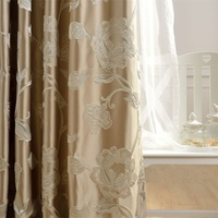 European style luxury 3D embossed flower design curtains golden satin curtain fabric for living room bedroom tulle curtain 348#4