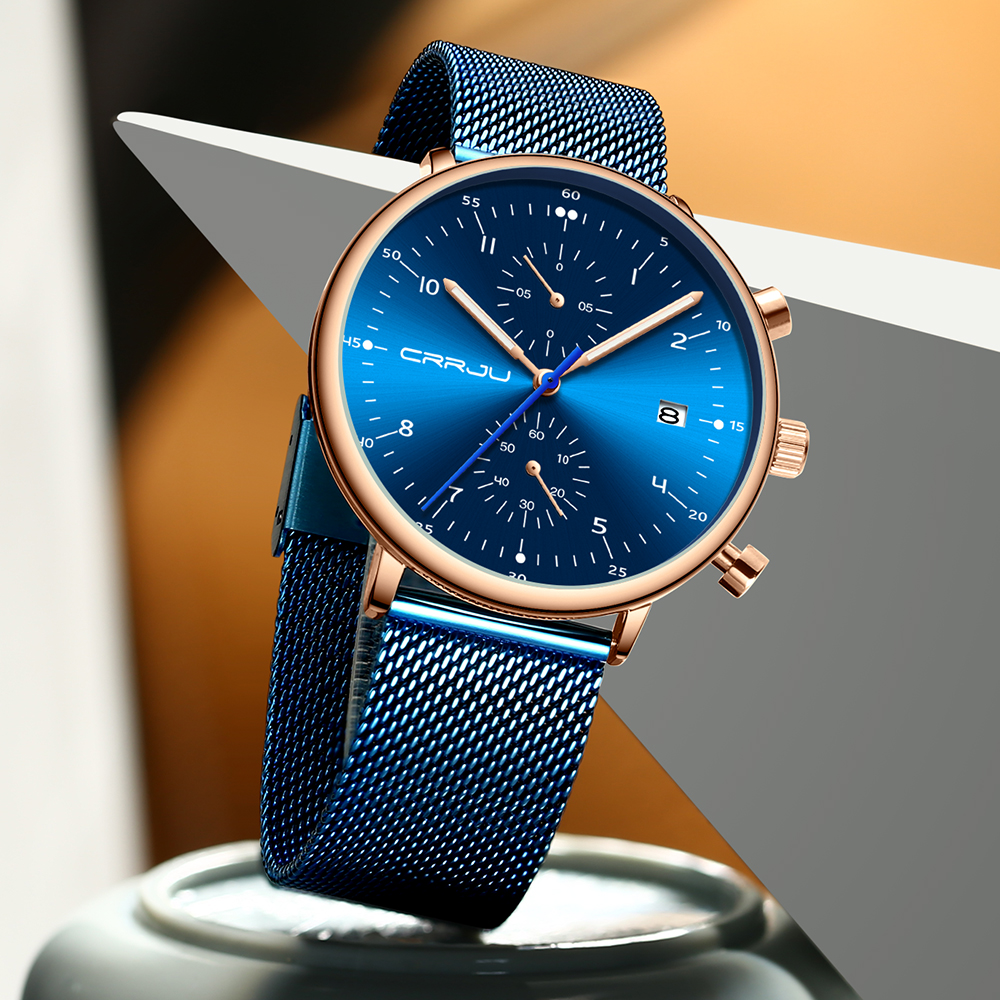 Image 4 - relogio masculino CRRJU Top Brand Luxury Men Stainless Steel WristWatch Mens Waterproof Calendar Chronograph Quartz watchesQuartz Watches   -