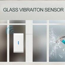 Qolelarm กระจกหน้าต่าง Break การสั่นสะเทือนแบบไร้สายเครื่องตรวจจับประตู window ALARM SENSOR Glass การสั่นสะเทือน SENSOR 433 MHz
