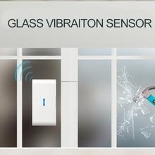 Qolelarm fenster glas brechen wireless vibration detektor tür fenster alarm sensor glas vibration sensor 433 mhz