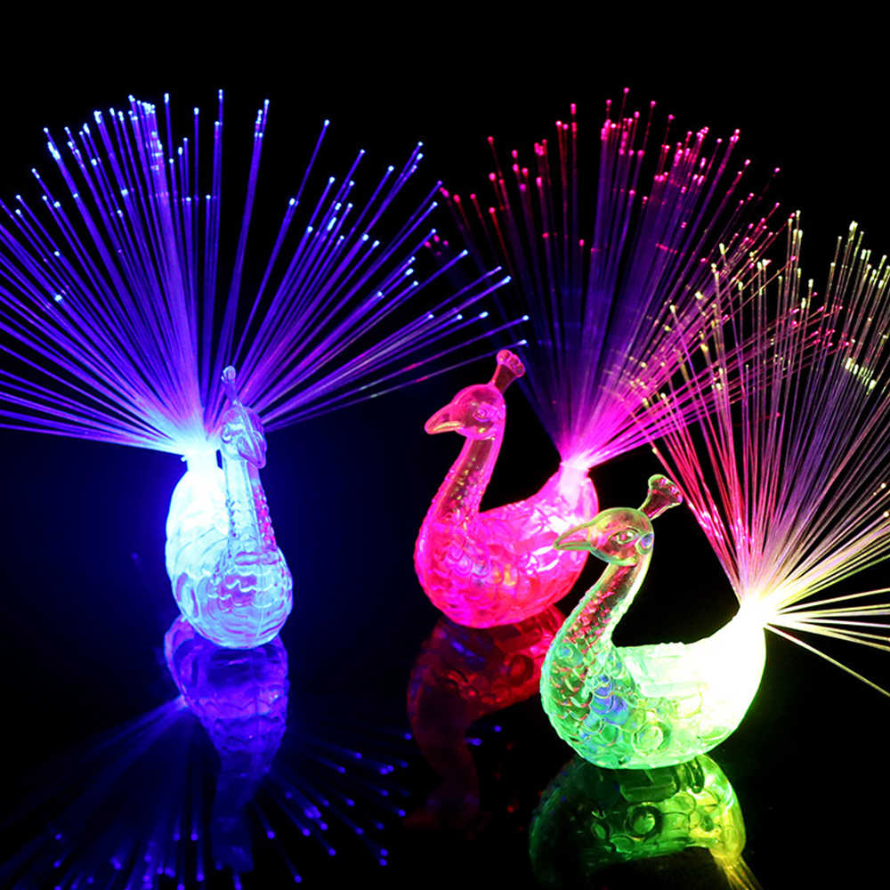 Stars Shine In The Dark Kids Toy 1PCS Luminous Peacock Decoration Open Light Toys Flash LED Lights Glow In The Dark Toys Child B