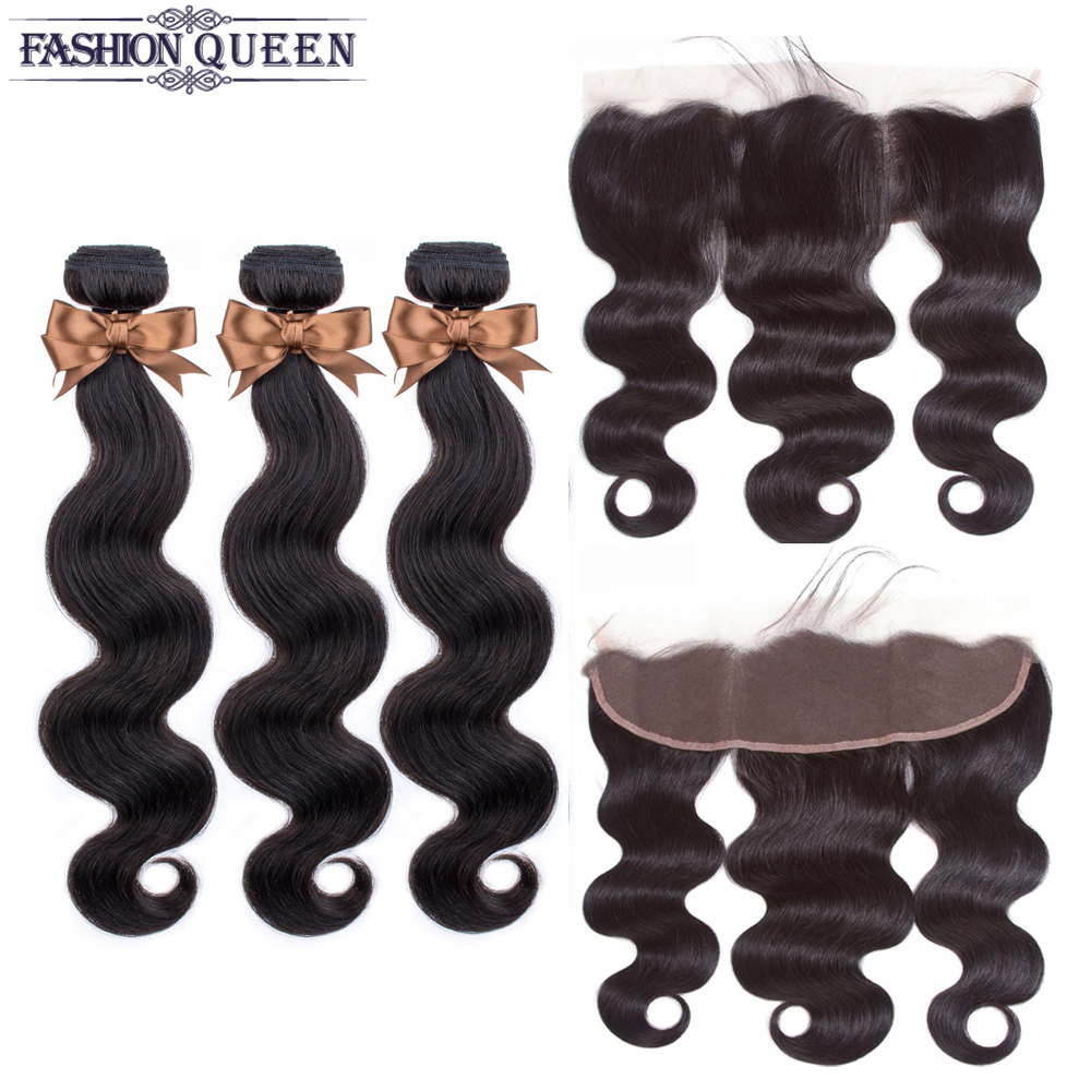Brazilian Hair Weave Bundles With 13*4 Lace Frontal 3 Bundles Human Hair Bundles With Closure Remy Body Wave Fashion Queen