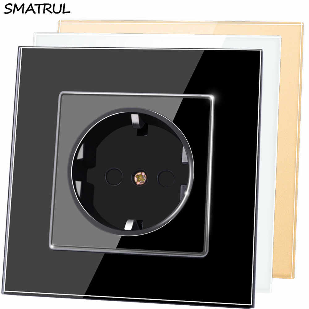 SMATRUL EU Standard Wall Power Socket Plug Grounded AC 110~250V 16A Electrical Outlet Crystal Glass Panel Wiring