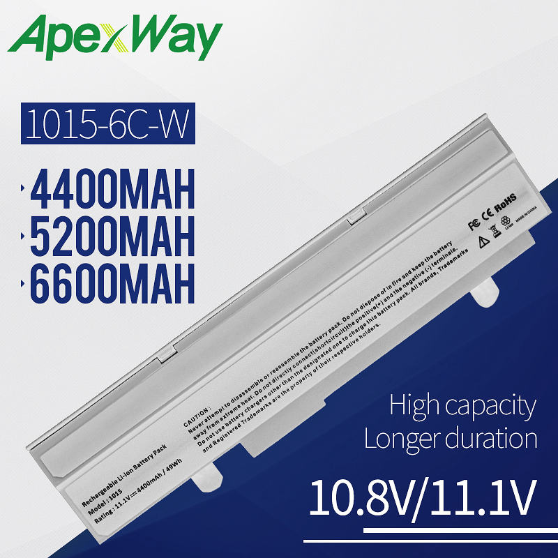 Apexway White Laptop battery For Asus Eee PC EEE 1215 PC 1215b 1215N 1015b <font><b>1015</b></font> 1015bx 1015px 1015p A31-015 <font><b>A32</b></font>-<font><b>1015</b></font> AL31-<font><b>1015</b></font> image
