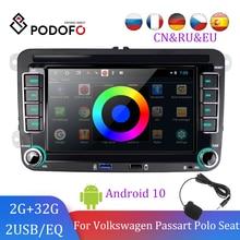 Podofo 2din автомобильное радио для Volkswagen Автомобильный мультимедийный плеер авторадио android 2din для VW/Volkswagen/Golf/Polo/Passat/Skoda/Fabia