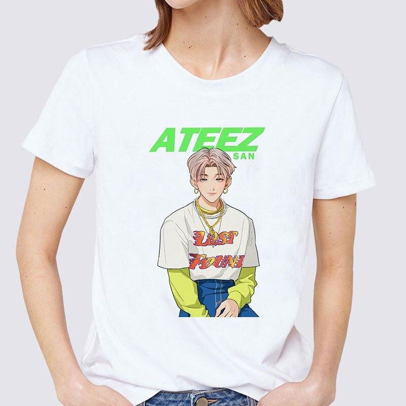 ATEEZ Male Group Harajuku Vintage Korean Style T Shirt Aesthetic Clothes Summer Women Short Sleeve Fashion E Girl Gothic Top