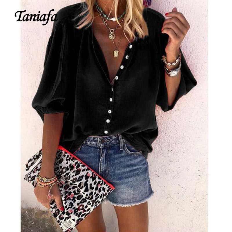 Taniafa Новая мода плюс размер женщин V шеи с длинным рукавом сплошной цвет Топы повседневные свободные рубашки на пуговицах Блузка