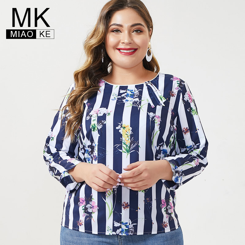 MK 2019 Autumn Womens Plus Size Long Sleeve Tops And Blouses Fashion Ladies Femal Vintage Stripe Print Floral Shirts