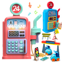 Gas Station Toys Childrens Simulation Talking Scene Model With Sound Light Christmas Gifts Cute
