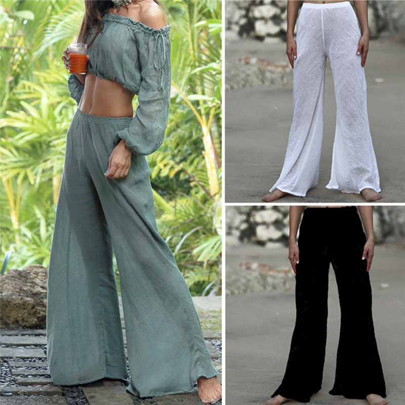 Women High Waist Flared Wide Leg OL Work Lady Bell-bottom Trousers Pants Beachwear
