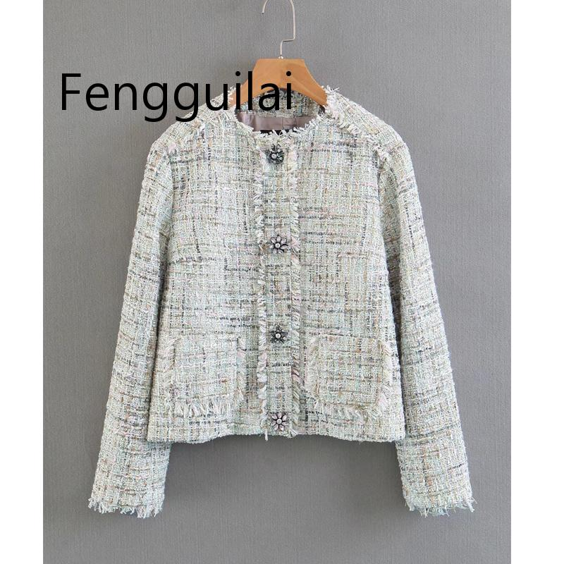 Elegant Women Chic Women Plaid Notched Collar Tweed Blazer Single Breasted Pockets Tassel Female Loose Casual Outwear Chic Tops