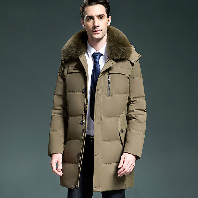 2020 New Men's Down Jacket Winter Long Coat Men Fox Fur Collar Thick Puffer Jackets Parka Doudoune Hiver Homme KJ1026