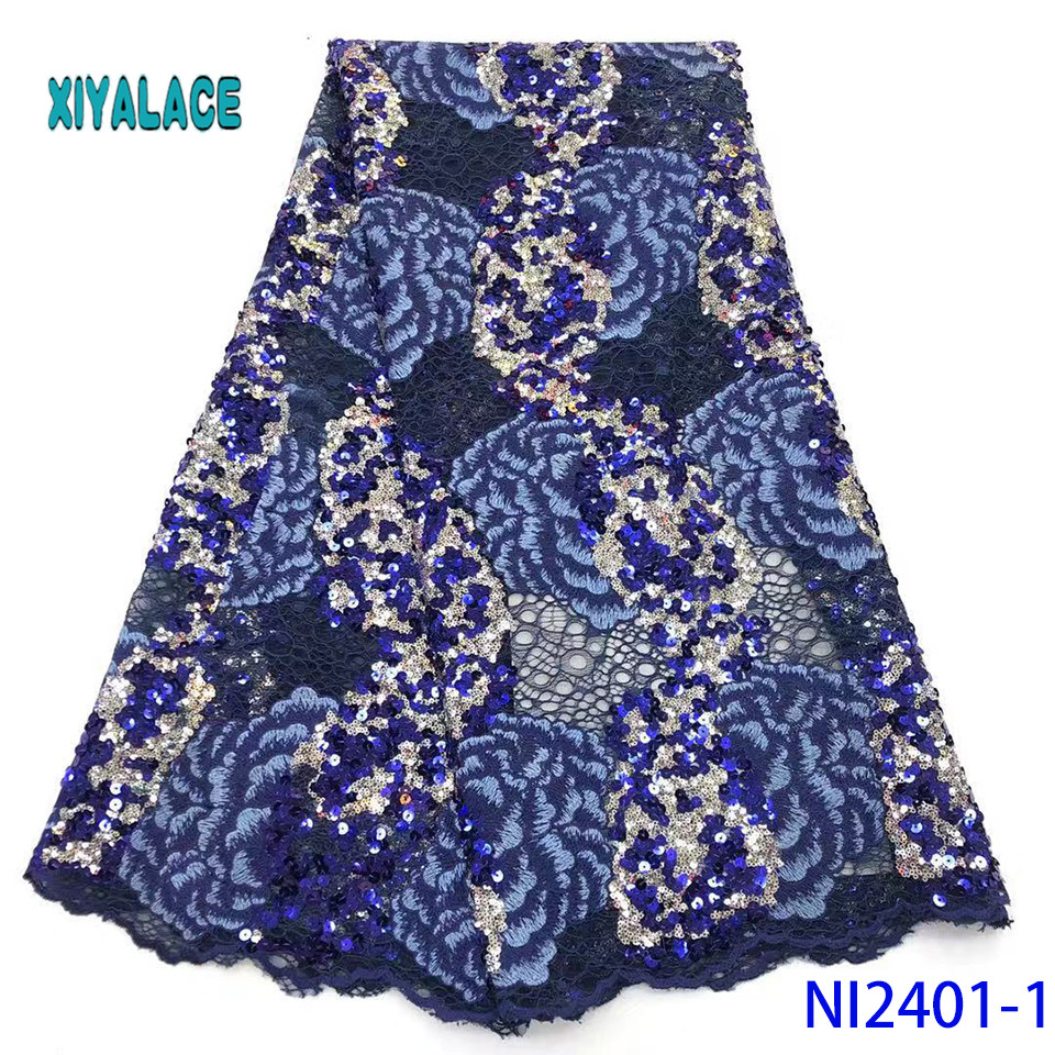 African Lace Fabric Sequins Lace Fabric Embroidered Sequins Nigerian Net Laces Fabric Bridal High Quality French Tulle NI2401-1
