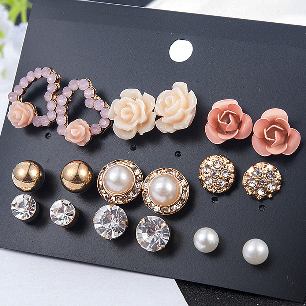2019 New Fashion Women 9pair/set Flower Pearl Alloy Ear Earring Cute Crystal Wedding Jewelry Gifts For Girl(China)